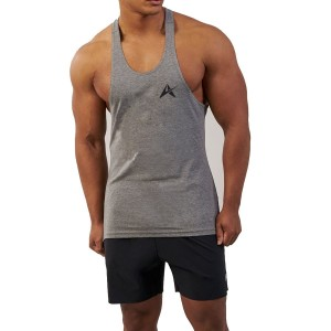 Men's Fitness Moves Workout Fitting Black Burnout Singlet Tank Top AI-122