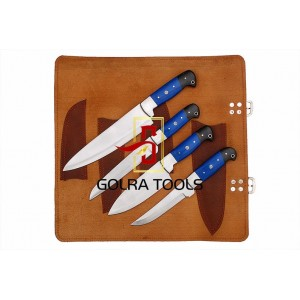 Custom Made 1095 Steel 4-Pcs Kitchen Chef Knives Set GT--5000