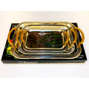 3 Pcs Serving Trays with Handles Stainless steel serving tray WE-04