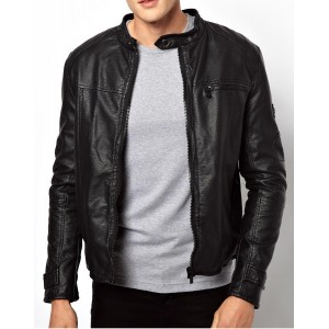 Round Neck real leather Men stylish Jacket TIJ - 033