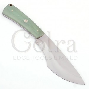 Custom Made 1095 Hunting Knife With Amazing Resin Sheet Handle & Engraved Leather Sheath GT-4340