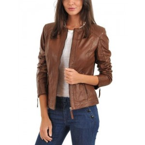 Round Neck real leather women stylish Jacket TIJ - 030