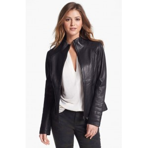 Round Neck real leather Women stylish Jacket TIJ - 031