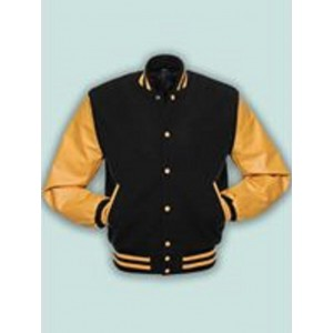 Baseball College School Varsity Jacket Black Wool Blend & Gold  KB -46