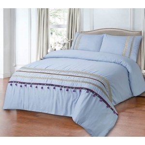 100% Cotton Satin Super King Bed sheet+Duvet Cover With Two Pillow Cover AIT-10028