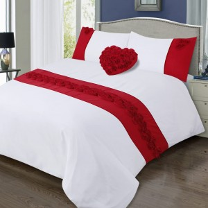100% Cotton Satin Double Bed sheet+Duvet Cover With Two Pillow Cover AIT-10022