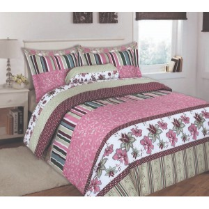 100% Cotton Satin Double Bed sheet+Duvet Cover With Two Pillow Cover AIT-100105