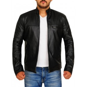 Round Neck Along Buckle Genuine  Men Leather Jacket  TIJ - 032