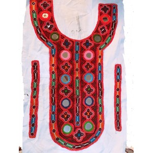 Sindhi Hand Embroidery Mirror work Neck Gala Red KHI  06