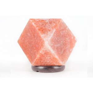 Natural Diamond Salt Lamp  with Elegant Wood Base Model No.SL-02