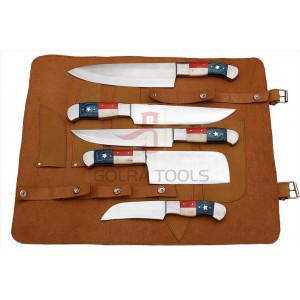 Custom Made 1095 Steel 5-Pcs Kitchen Chef Knives Set GT--5003