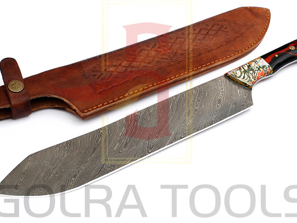 Custom Made Damascus BBQ Knife GT--4340
