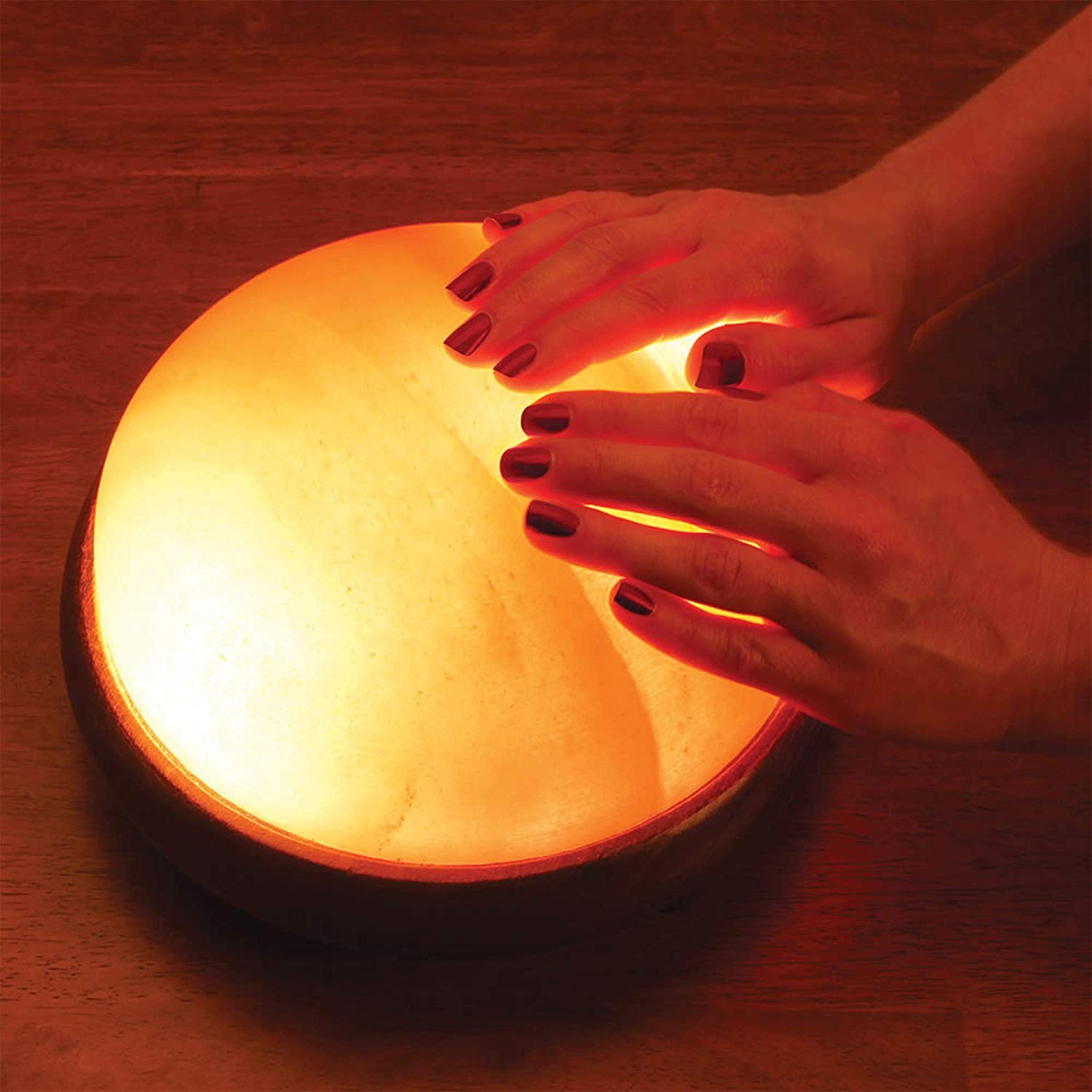 Himalayan Foot Detox Lamp | Salt Foot Lamp | Authentic Hand Carved Himalayan Salt Detoxer | Night Light Lamp with Rosewood Base | Pink Salt Mood Lightning Amber Glow Lamp for Achy & Swollen Feet