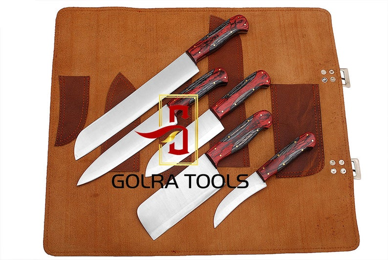 Custom Made 1095 Steel 5-Pcs Kitchen Chef Knives Set GT-5005