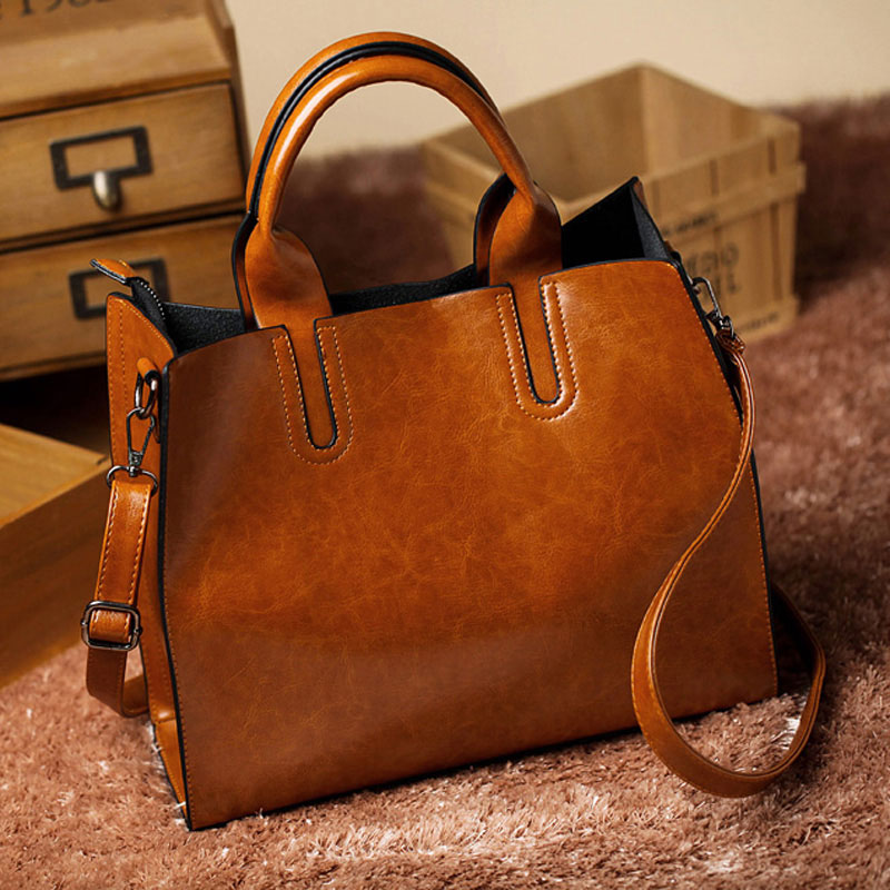 Leather Big Casual Women Trunk Tote Bag  SPLLB-1004