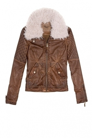 Women's Faux Suede Jacket, Coat with Detachable Faux Fur Collar TSI 1807