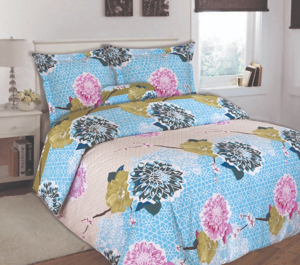 100% Cotton Satin King Bed sheet+Duvet Cover With Two Pillow Cover AIT-100102