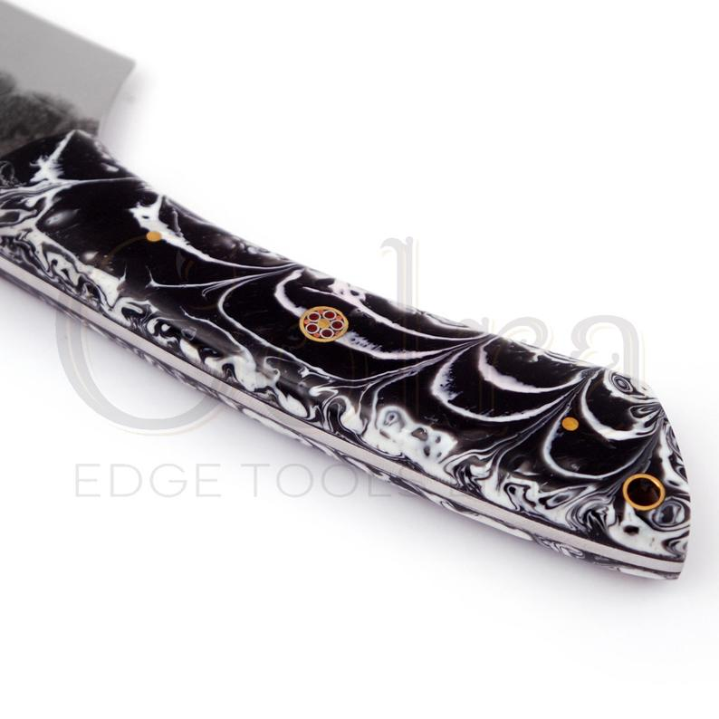 Custom Made 1095 Hunting Knife With Amazing Resin Sheet Handle & Engraved Leather Sheath GT-4337