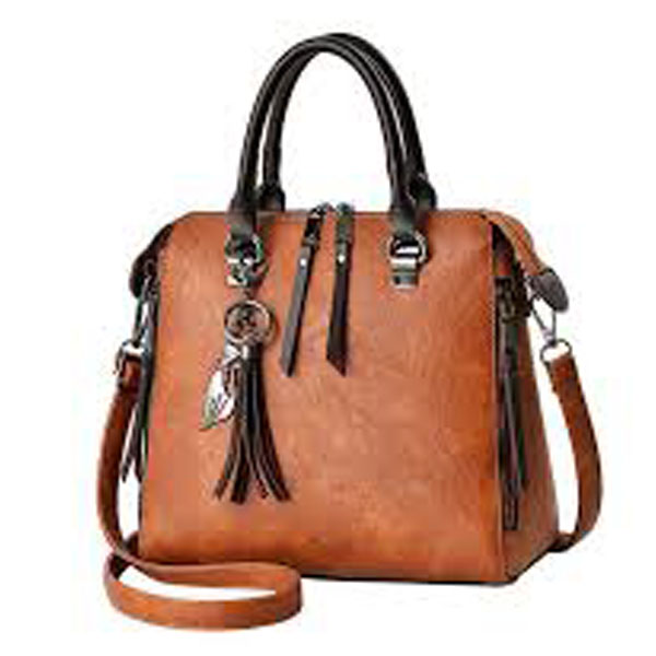 Women Faux-Leather Distressed Asymmetri Tote Cross-Body Bag With Stunning Tassels SPLLB-1006