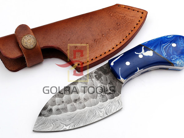 Custom Made Damascus Steel Hunting Knife With Amazing File Work On The Blade  GT--4352