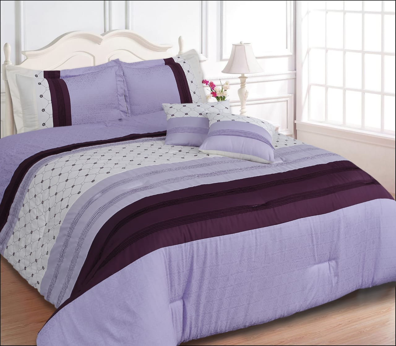 100% Cotton Satin King Bed sheet+Duvet Cover With Two Pillow Cover AIT-10043