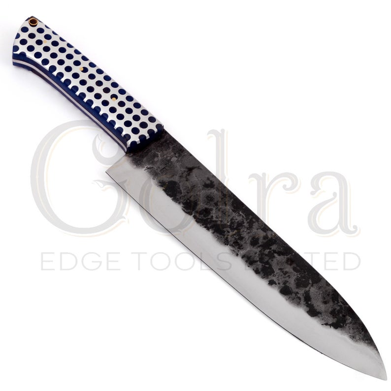 Custom Made 1095 Hunting Knife With Amazing Resin Sheet Handle & Engraved Leather Sheath GT-4338