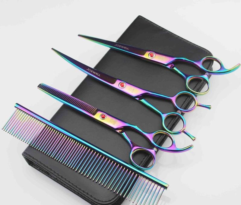 Hairdressing Scissors Stainless Steel Pet Hair Cutting/Thinning Shears 4Pcs/Set With Bag