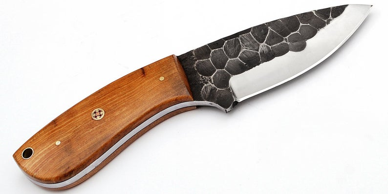 Custom Made 1095 Steel Hunting Knife With Stunning File Work On The Blade  GT-431