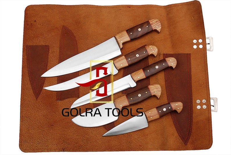 Custom Made 1095 Steel 5-Pcs Kitchen Chef Knives Set GT--5004