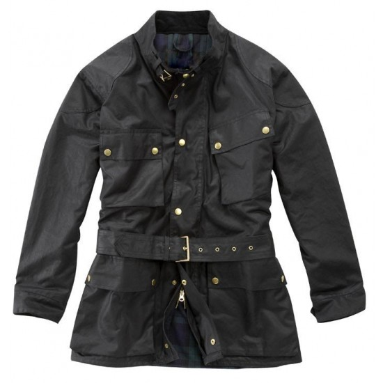 Deluxe Traditional Wax Cotton Motorcycle Jacket DR-005