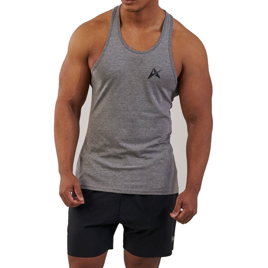 Men's Fitness Moves Workout Fitting Black Burnout Singlet Tank Top AI-124