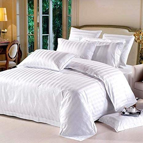Fitted sheet 100% Cotton Satin (Stripe) double Bed sheet with two Pillow Cove AIT-10015