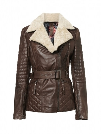 Women's Faux Suede Jacket, Coat with Detachable Faux Fur Collar TSI 1803