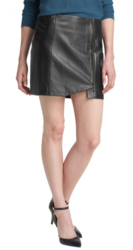 Beautiful Ladies Leather Skirt for Office  TSI 2002
