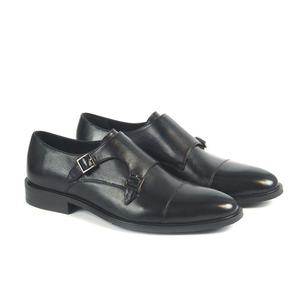 Leather Monk Strap Shoes Rayo Black SP-29