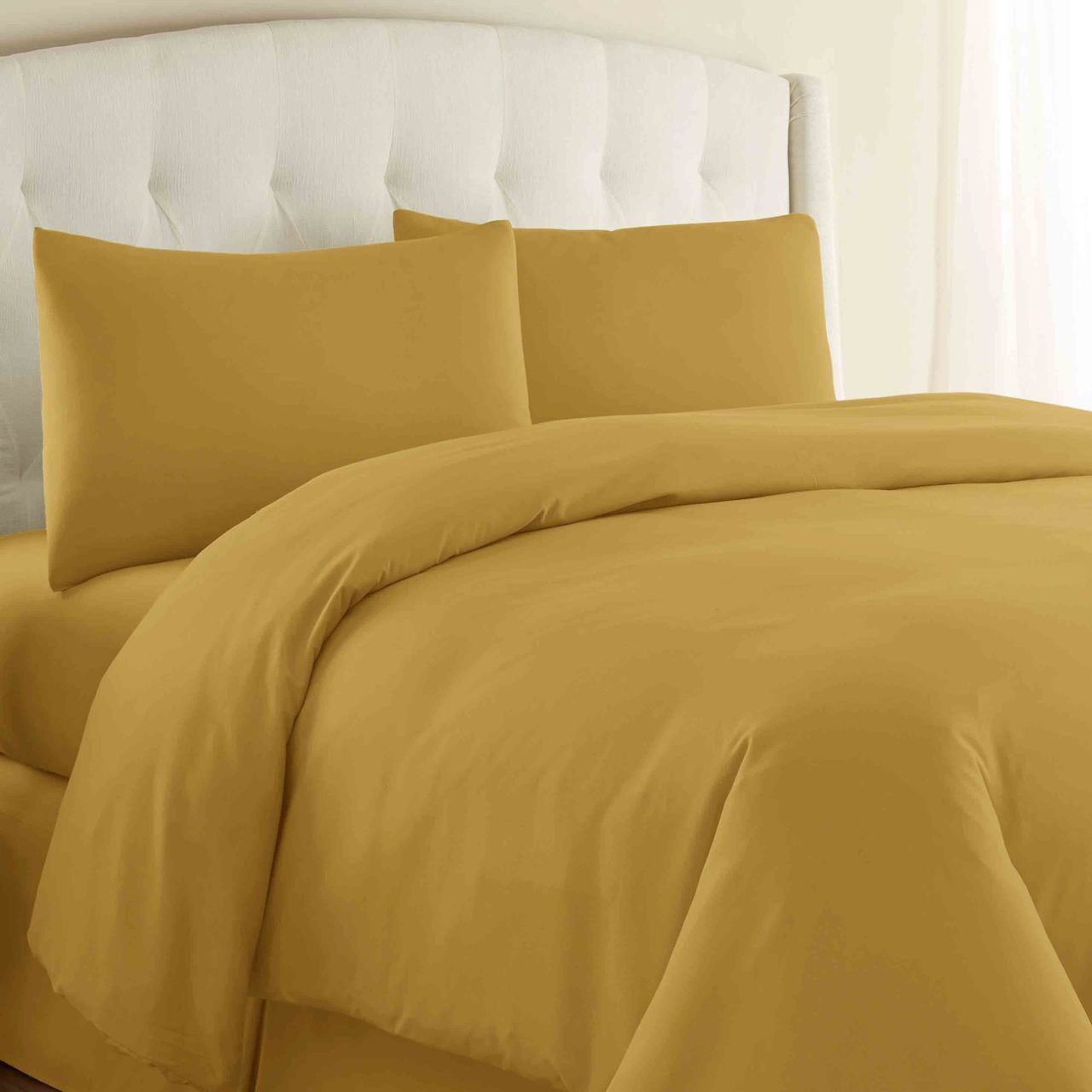 Fitted sheet 100% Cotton Satin (Plain) single Bed sheet with one Pillow Cover AIT-1003