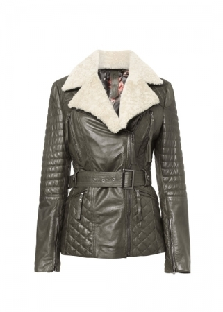 Women's Faux Suede Jacket, Coat with Detachable Faux Fur Collar TSI 1805