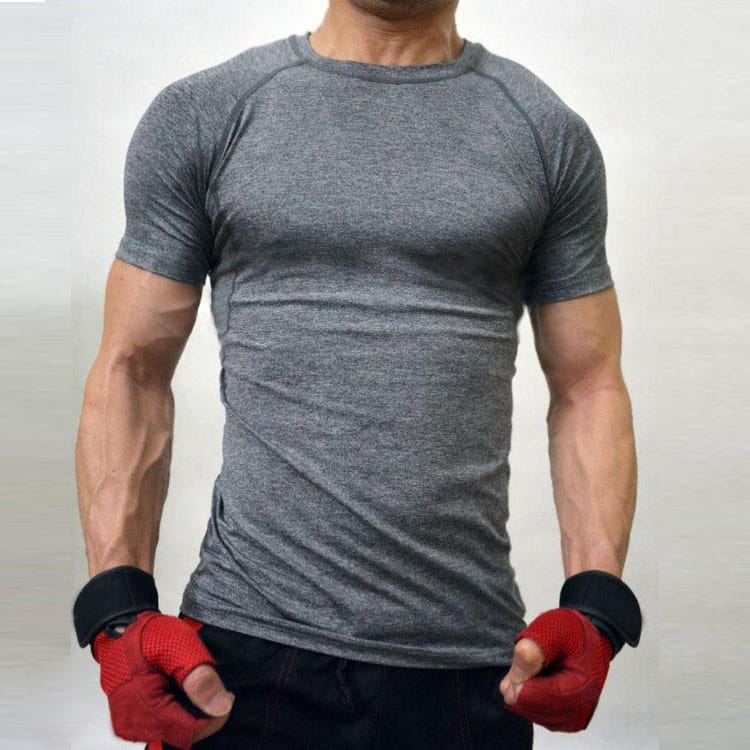Short Sleeves Men's  sports Compression Tops  Grey KB -01