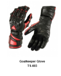 Goalkeeper Gloves with Double Wrist Protection Black Model No. TSI 603
