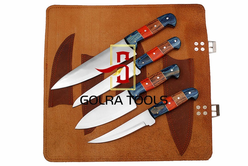 Custom Made 1095 Steel 4-Pcs Kitchen Chef Knives Set GT--5002