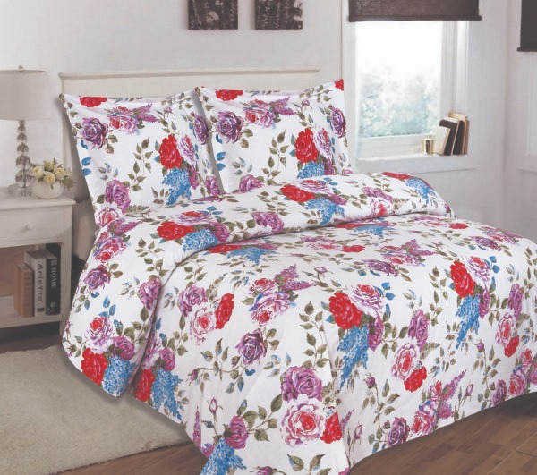 100% Cotton Satin Double Bed sheet+Duvet Cover With Two Pillow Cover AIT-10093