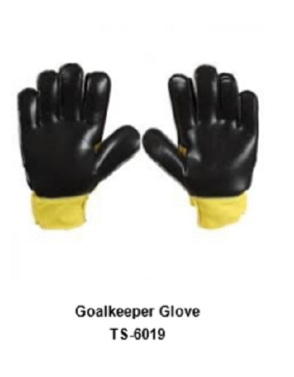 Goalkeeper Gloves with Double Wrist Protection Black Model No. TSI 6019