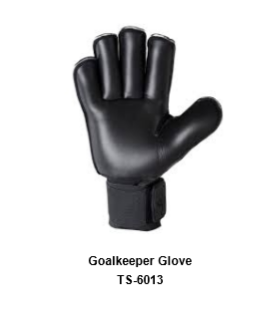 Goalkeeper Gloves with Double Wrist Protection Black Model No. TSI 6013