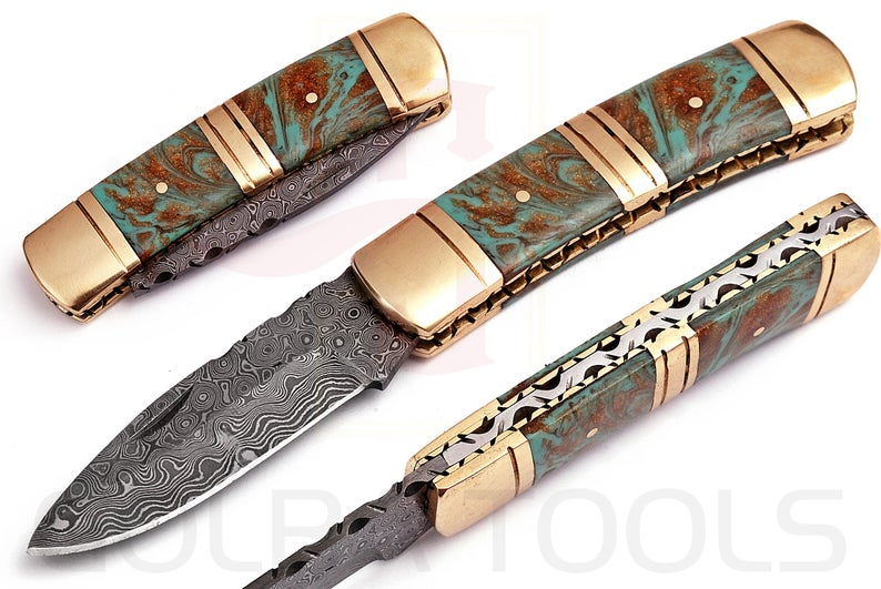 Custom Made Damascus Pocket Knife With Amazing Resin Sheet Handle & Engraved Leather Sheath GT-4000
