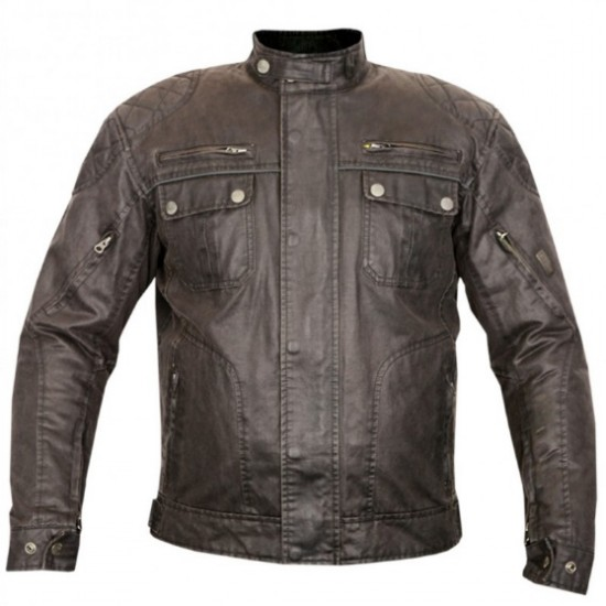Motorbike Brown Wax Cotton Short Jackets DRJ-009