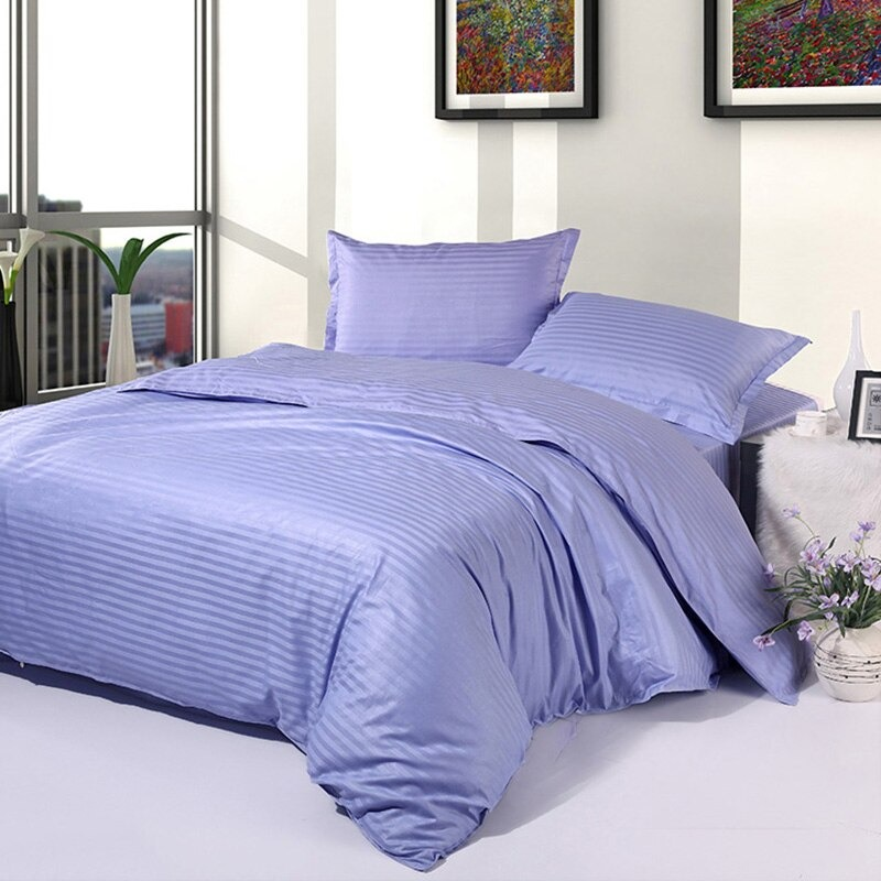 Fitted sheet 100% Cotton Satin (Plain) double Bed sheet with two Pillow Cover AIT-10012