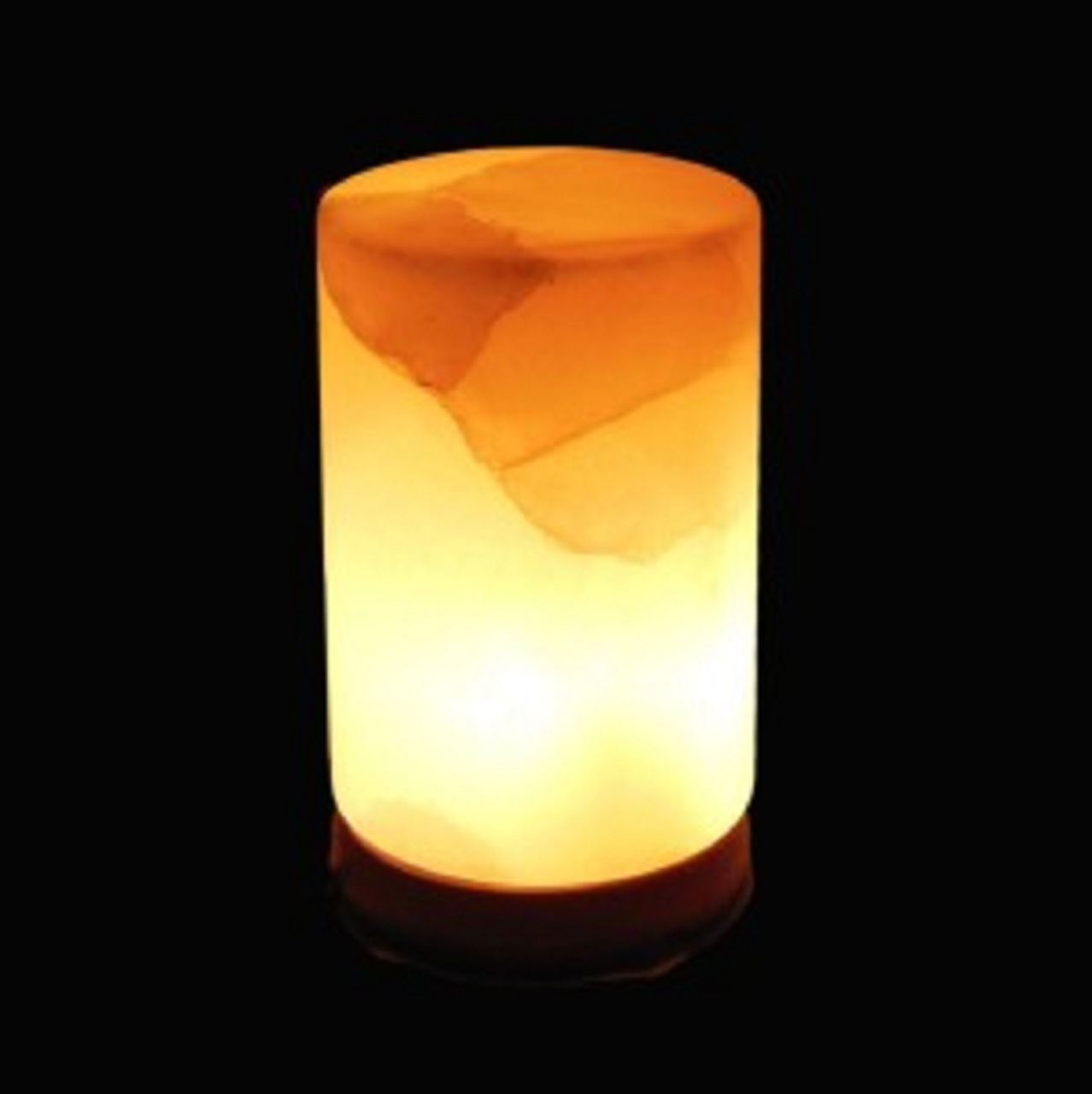 Orange Himalayan Rock Salt Cylinder, 7 Inches Tall-Soft Calm Therapeutic Light-Table Lamp